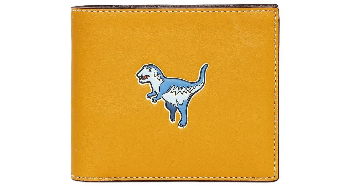 COACH T-rex Dinosaur Leather Wallet in Yellow for Men - Lyst 6ed637a1b317