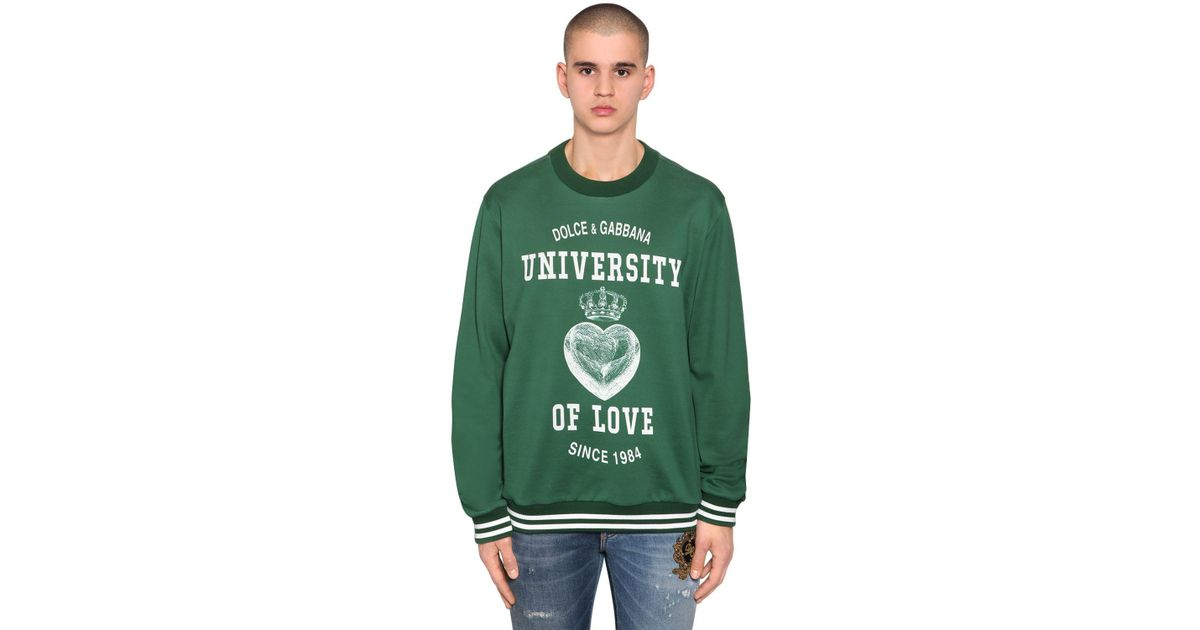 1bff1e61912d1b Lyst - Dolce   Gabbana University Of Love Print Jersey Sweater in Green for  Men