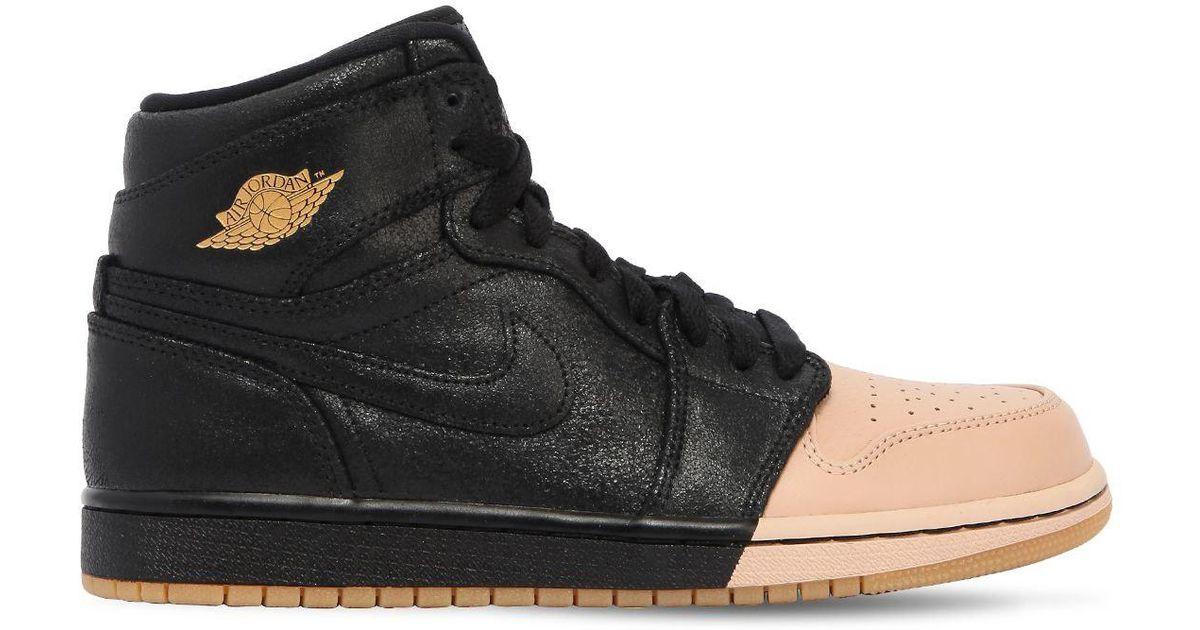 afc33b2e6547ee Nike Air Jordan 1 Retro Premium Sneakers in Black - Lyst