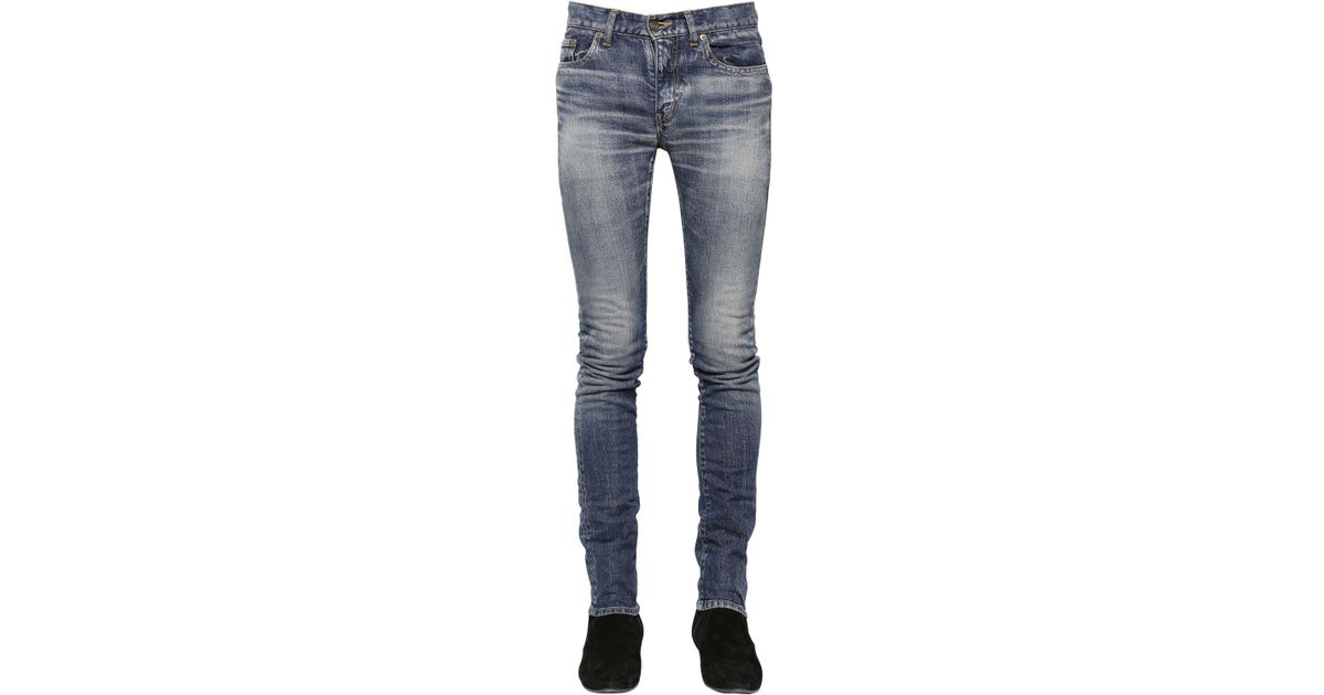 15CM SKINNY LOW RISE WASHED DENIM JEANS