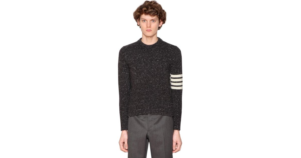 3d4b4d10c3ad Lyst - Thom Browne Wool Mohair Crew Neck Sweater W  Stripes in Gray for Men