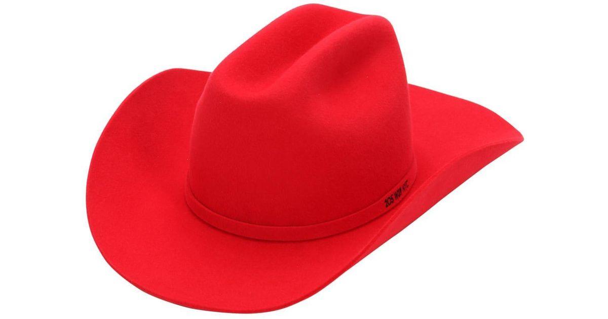 b7eda57e8b3 Lyst - CALVIN KLEIN 205W39NYC Rabbit Fur Felt Cowboy Hat in Red