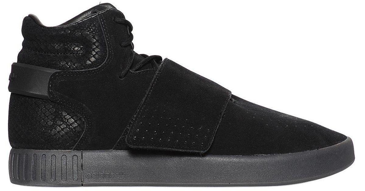 d223ef4274dc Lyst - adidas Originals Tubular Invader Suede High Top Sneakers in Black  for Men