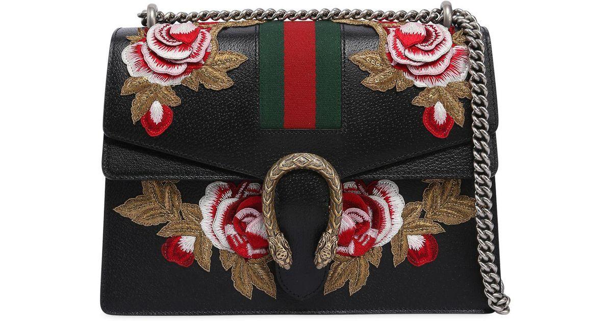 5c9a943510e Gucci Um Dionysus Bag W Flower Patches In Black Lyst