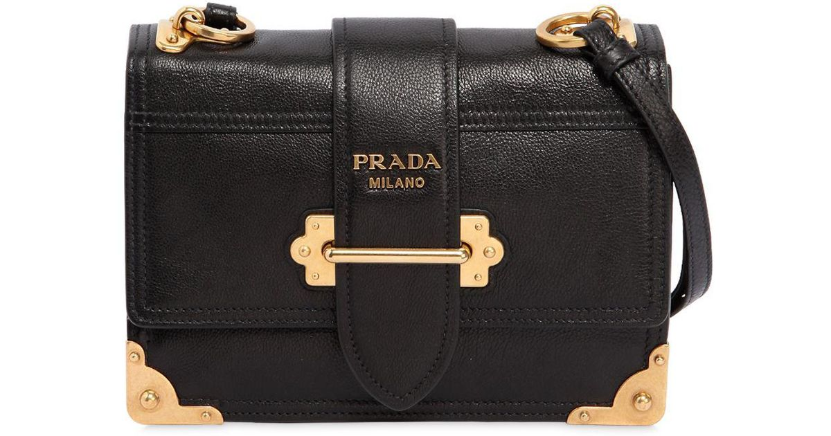 7a2589c5f9 Lyst - Prada Medium Cahier Leather Shoulder Bag in Black