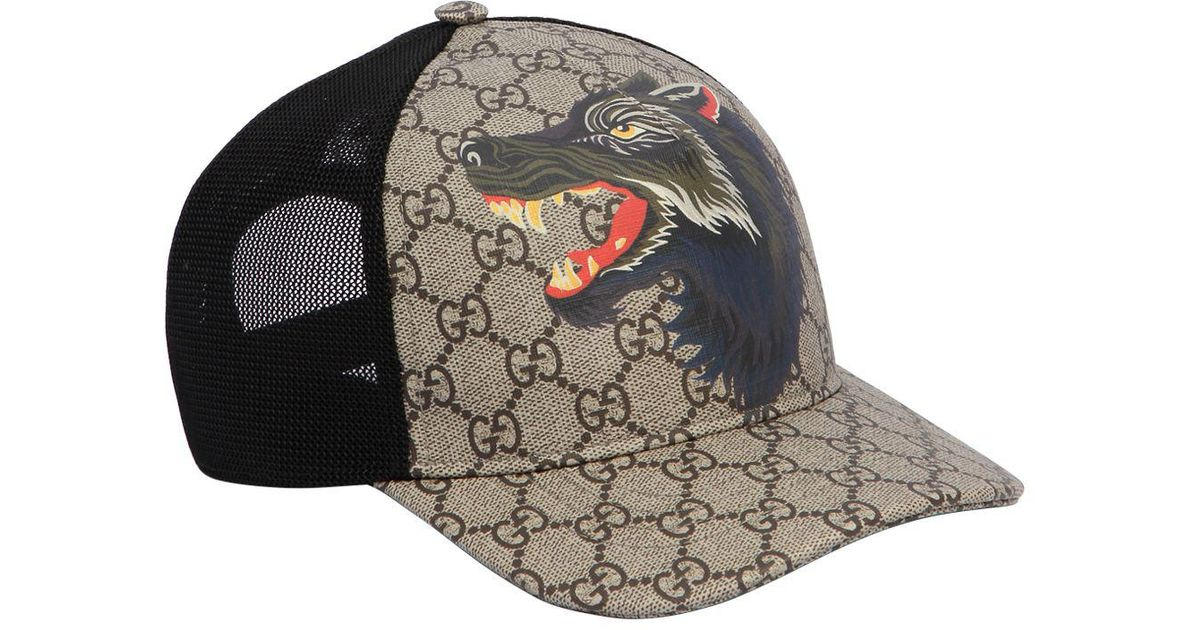 1952bf89bc2 Gucci Wolf Printed Gg Supreme Baseball Hat in Black for Men - Lyst