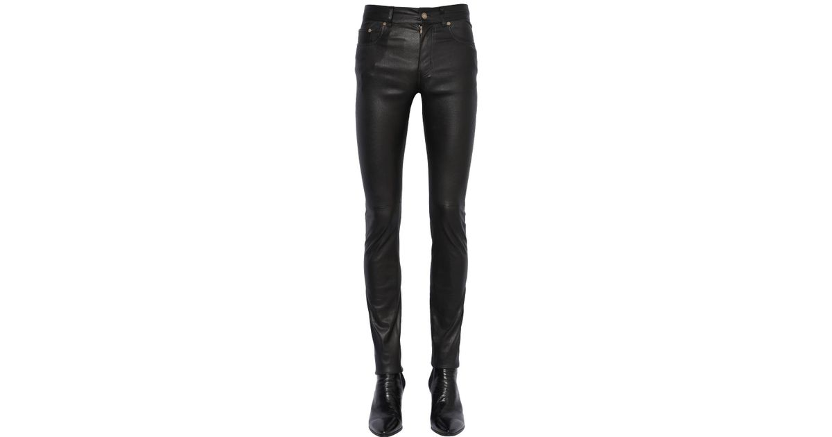 2432e6daa59 Saint Laurent 15Cm Skinny Stretch Faux Leather Jeans in Black for Men - Lyst