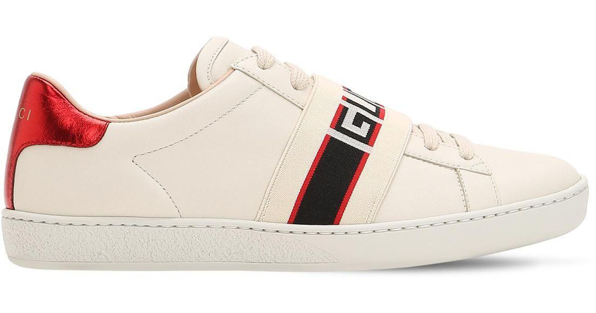 dedf1935aed Lyst - Gucci New Ace Elastic Band Leather Sneakers in White