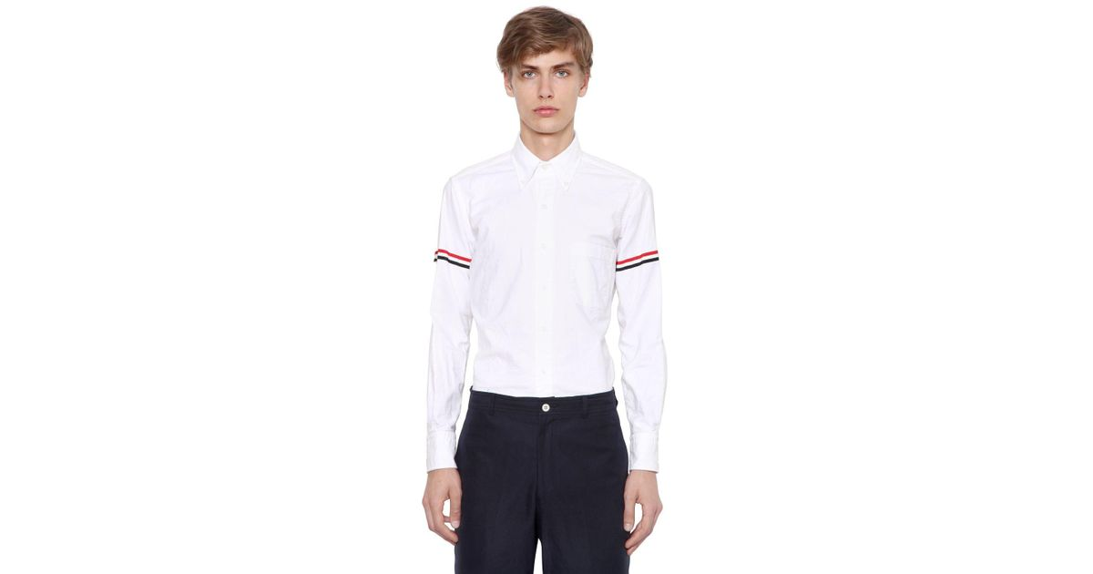a78225ae2aba7 Thom Browne Striped Sleeve Shirt in White for Men - Save 13% - Lyst