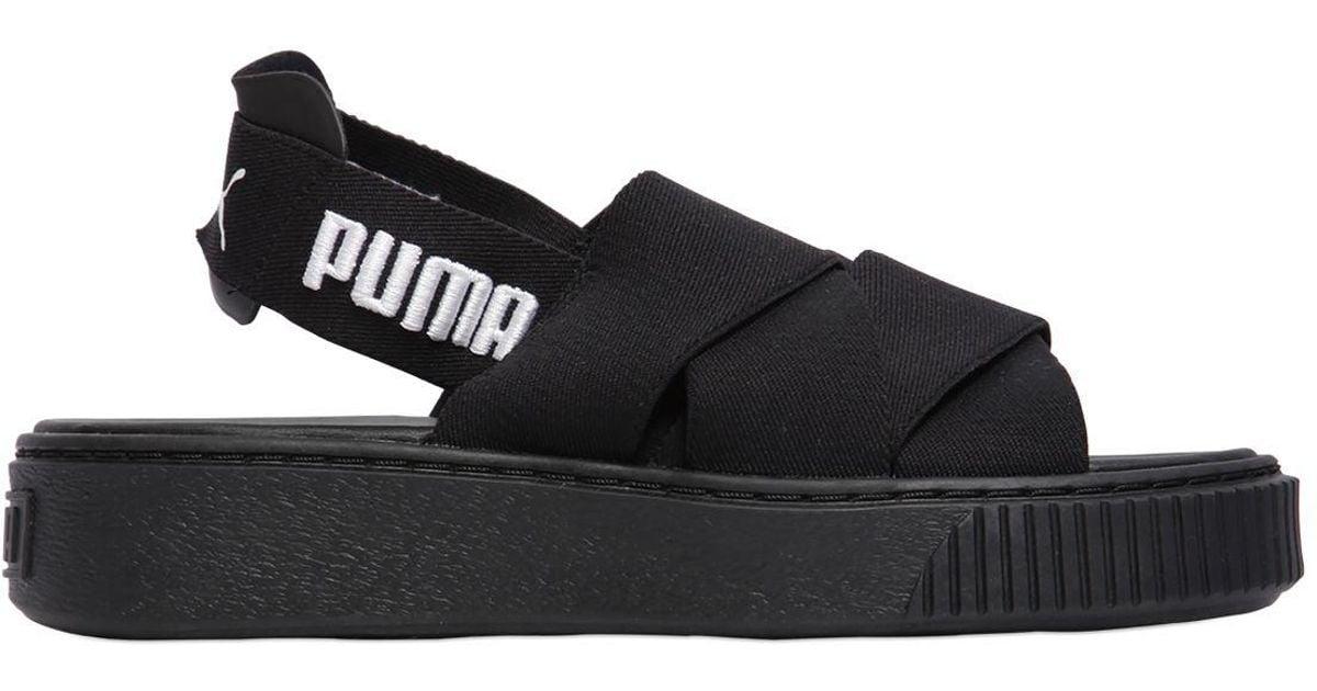 3f9afd858f7d Lyst - Puma Select Elastic Slingback Platform Sandals in Black