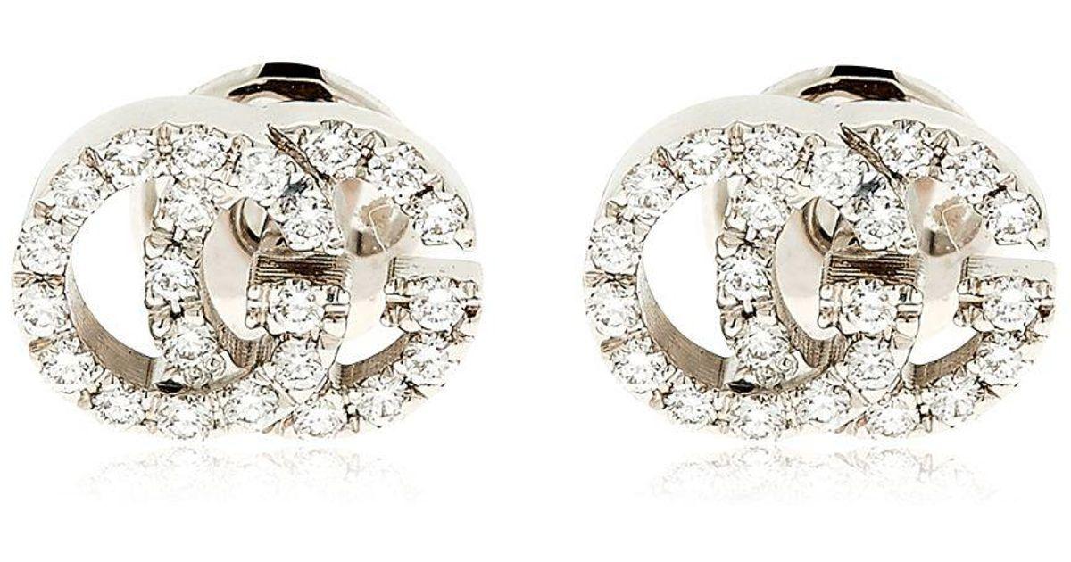 c7f62b8fe2b Lyst - Gucci Running G Diamond Stud Earrings in White