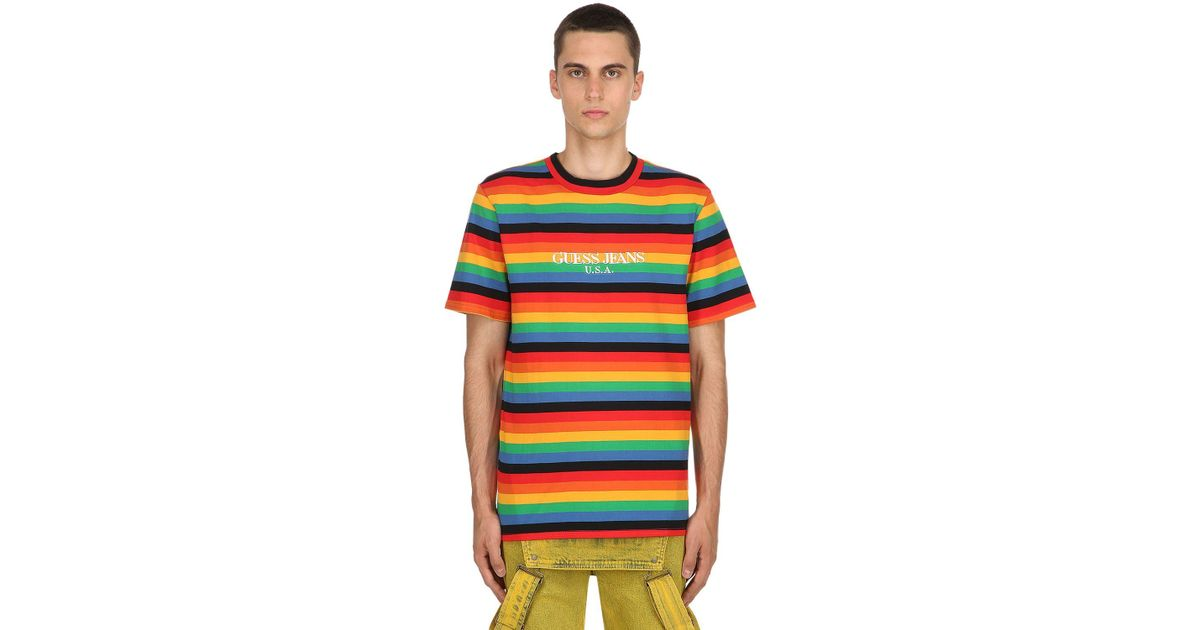 58155d9b85 Guess Farmers Market Striped Jersey T-shirt for Men - Lyst