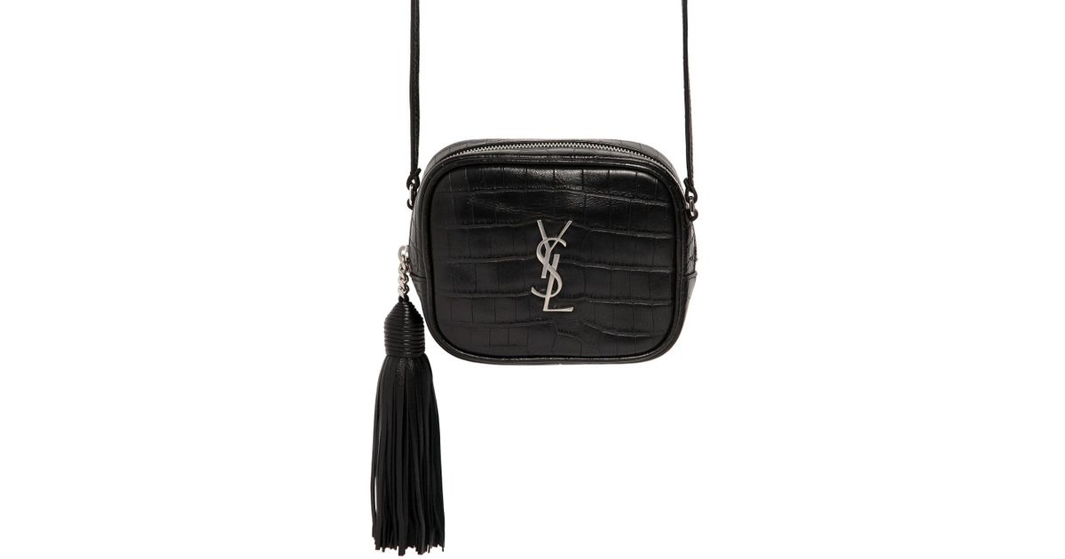 2e6cec0a16db Lyst - Saint Laurent Monogram Blogger Croc Embossed Bag in Black