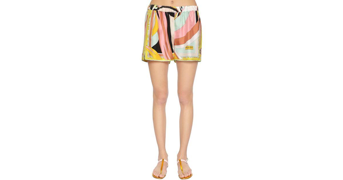 e8b93d276ae1 Lyst - Emilio Pucci Scarf Printed Silk Twill Shorts