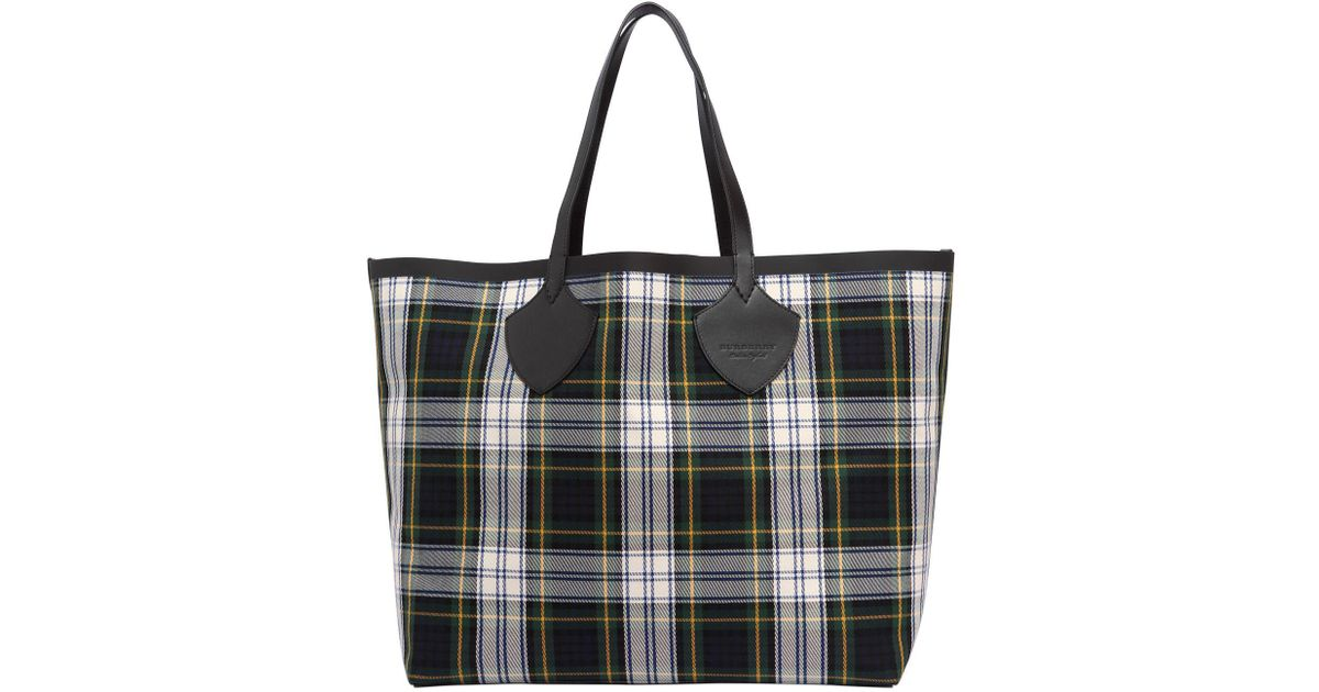 8dc4322d04b2 Lyst - Burberry Runway Ss18 Reversible Check Tote Bag in Green