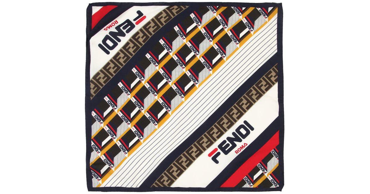 4664a8a2f1a0 Lyst - Fendi Mania Logo Silk   Cotton Foulard