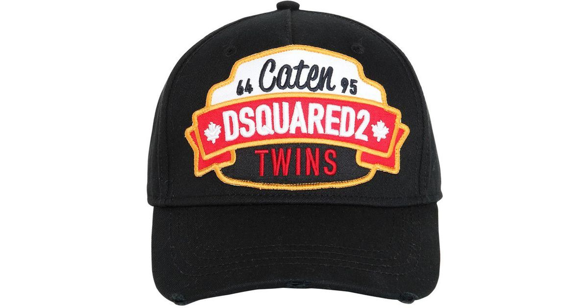 d2c8550a1e4 Lyst - DSquared² Caten Twins Patch Cotton Baseball Hat in Black for Men -  Save 26%