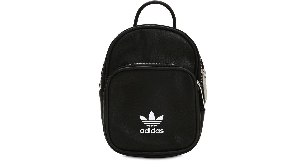 f0be795314 Lyst - adidas Originals Leather Look Mini Backpack In Black in Black