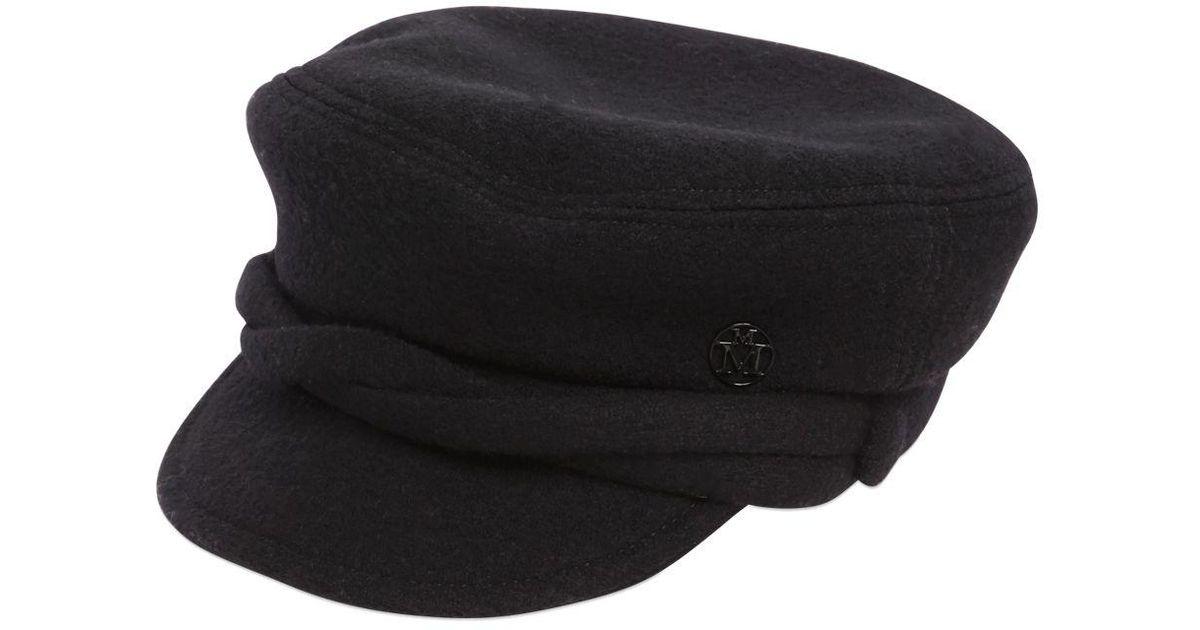 fabdf8d970e8a Maison Michel New Abby Wool Captain s Hat in Black - Lyst