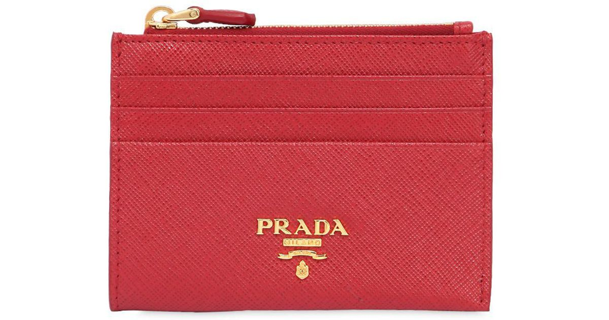 643759abf23f Prada Saffiano Leather Zip Card Holder in Red - Lyst