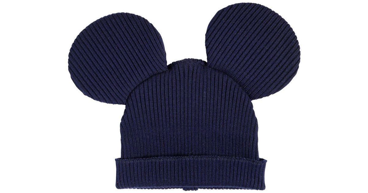 6bcd814ffe12e Comme des Garçons Mouse Ears Wool Blend Rib Knit Beanie in Blue for Men -  Lyst