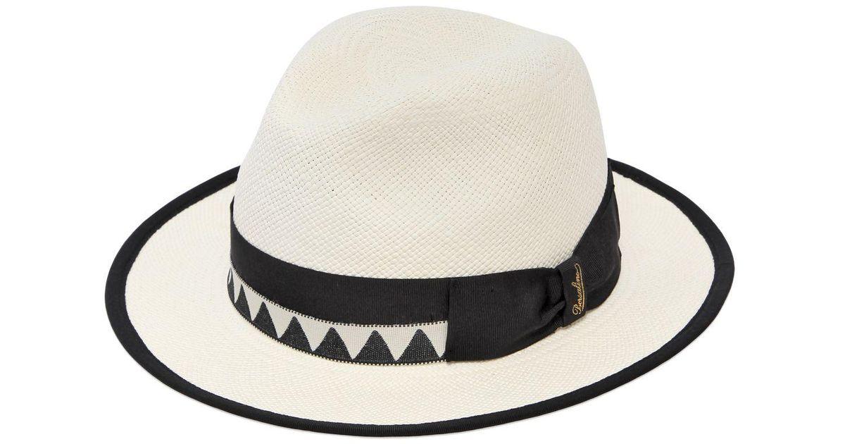 6215925ad3ff4f Lyst - Borsalino Quito Medium Brim Straw Panama Hat in White for Men