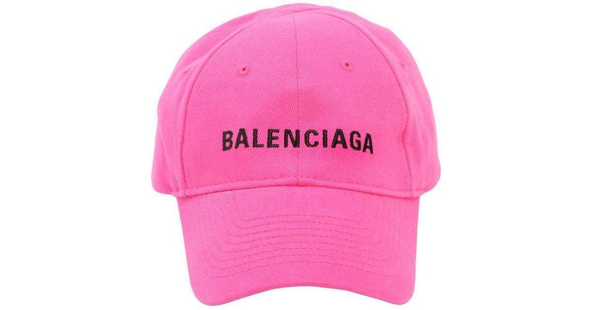 Balenciaga Logo-embroidered Cotton Cap in Pink - Lyst dba633e8455
