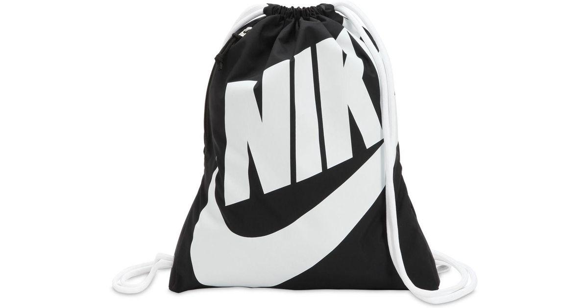 828c946fdae Nike Heritage Nylon Drawstring Backpack in Black for Men - Lyst