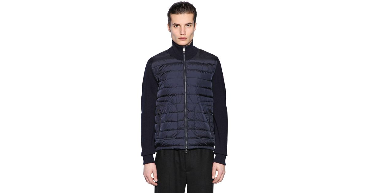 Lyst - Moncler Nylon & Wool Knit Down Jacket in Blue for Men - Save 14.893617021276597%