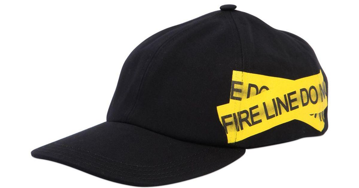 Lyst - Off-White c o Virgil Abloh Fire Line Tape Canvas Baseball Hat in  Black for Men a36be200f44