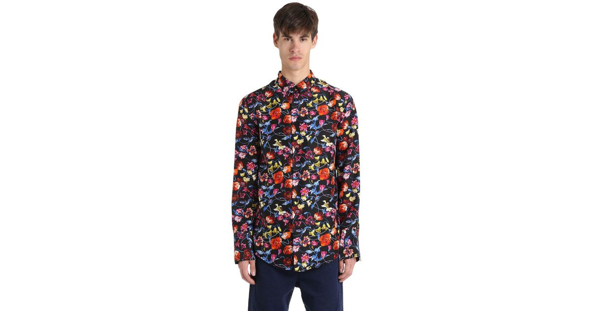 07dec8d3 KENZO Wild Flower Print Silk Long Casual Shirt for Men - Lyst