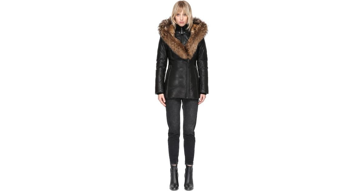 390a1d17c72 Mackage Ingrid Winter Down Leather Jacket With Fur In Black in Black - Lyst