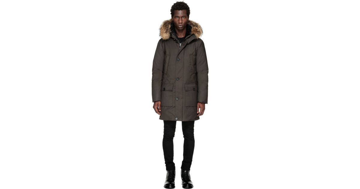 4b86ff919a6c shop lyst mackage vaughn sp hip length winter down coat with fur in olive  in blue