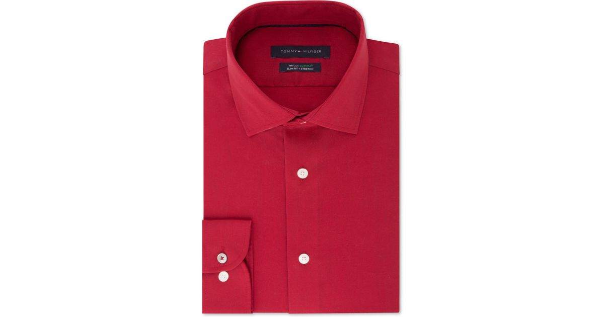 3c90f07a Tommy Hilfiger Slim-fit Th Flex Performance Stretch Non-iron Red Dress  Shirt in Red for Men - Lyst