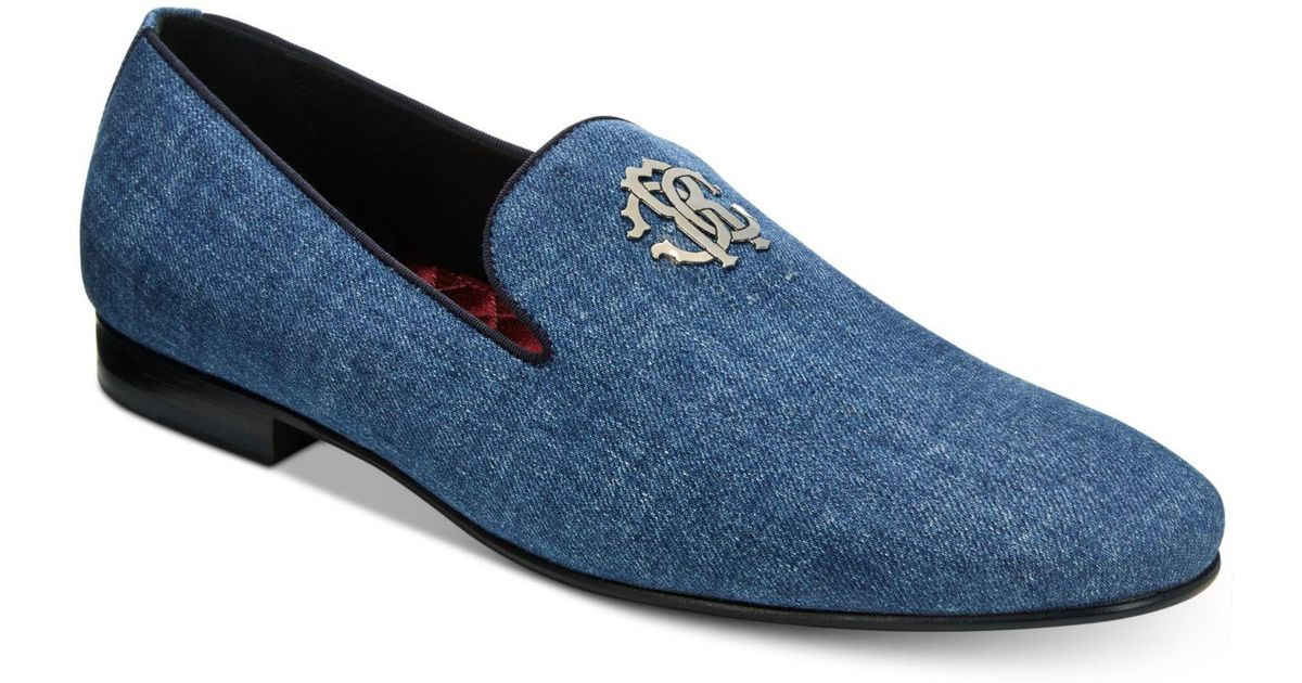 Roberto CavalliMen's Night Denim Loafers with Metal Logo Men's Shoes Up8Mhfu