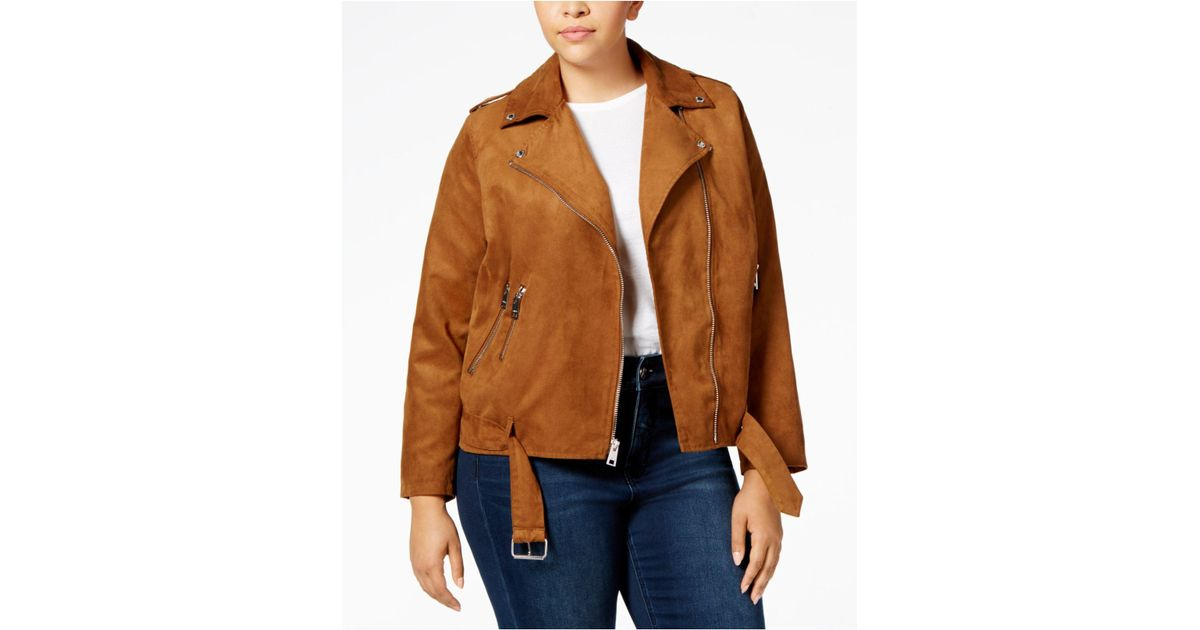 a299eff9120 Lyst - Levi S Plus Size Faux-suede Belted Moto Jacket