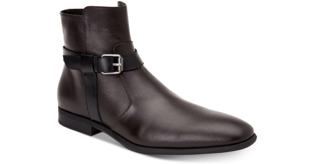 68247cdefdc Calvin Klein - Brown Louis Leather Boots - Lyst