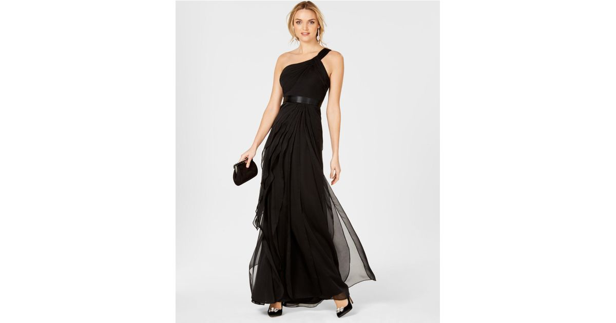 Lyst - Adrianna Papell One-shoulder Tiered Chiffon Gown in Black