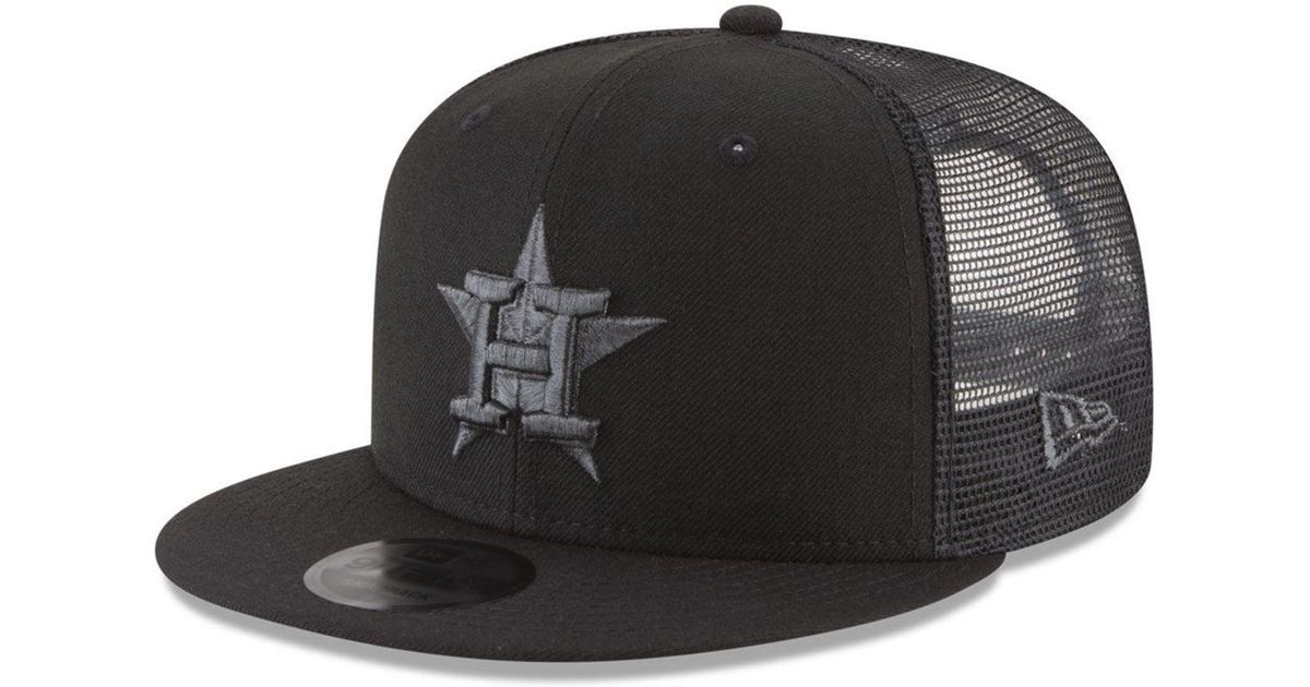 online store 69b3a 2a92a ... 50% off lyst ktz houston astros blackout mesh 9fifty snapback cap in  black for men ...