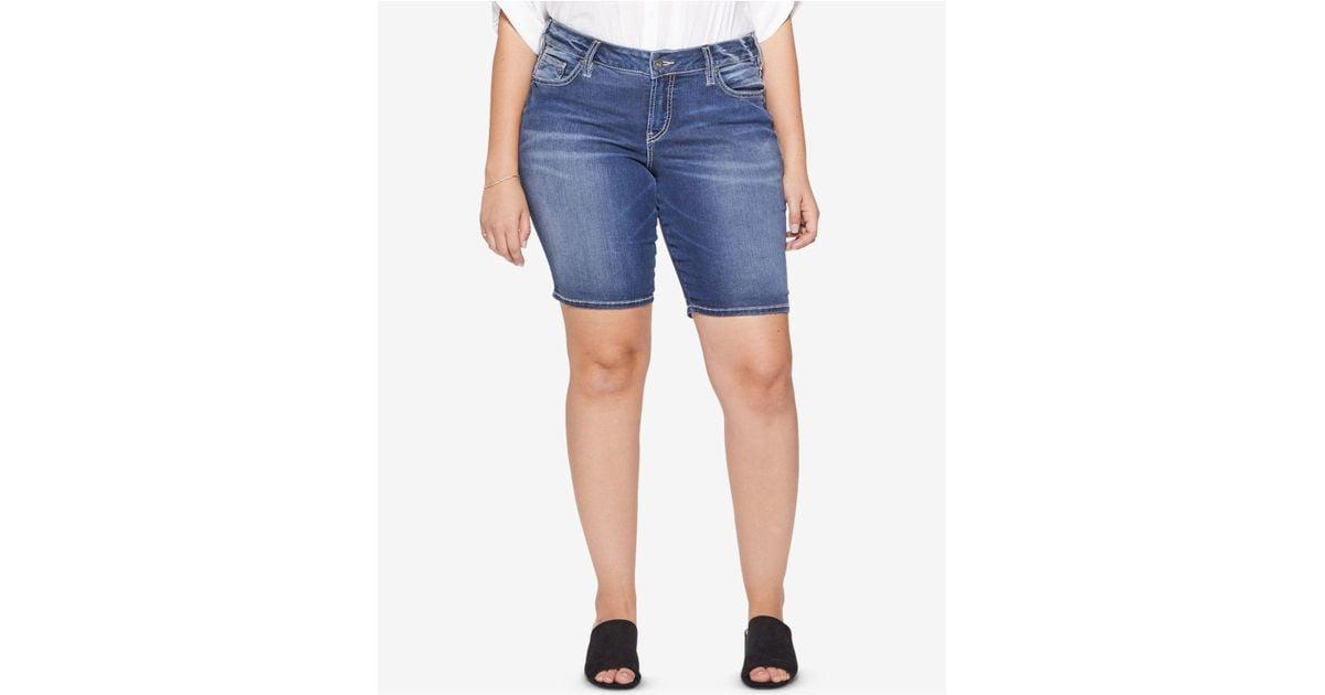 d8d450d6331 Lyst - Silver Jeans Co. Plus Size Suki Stretch Denim Bermuda Shorts in Blue