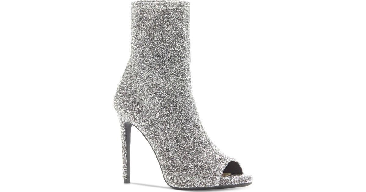 114581ec9d8a Lyst - Jessica Simpson Rainer Peep-toe Booties in Gray