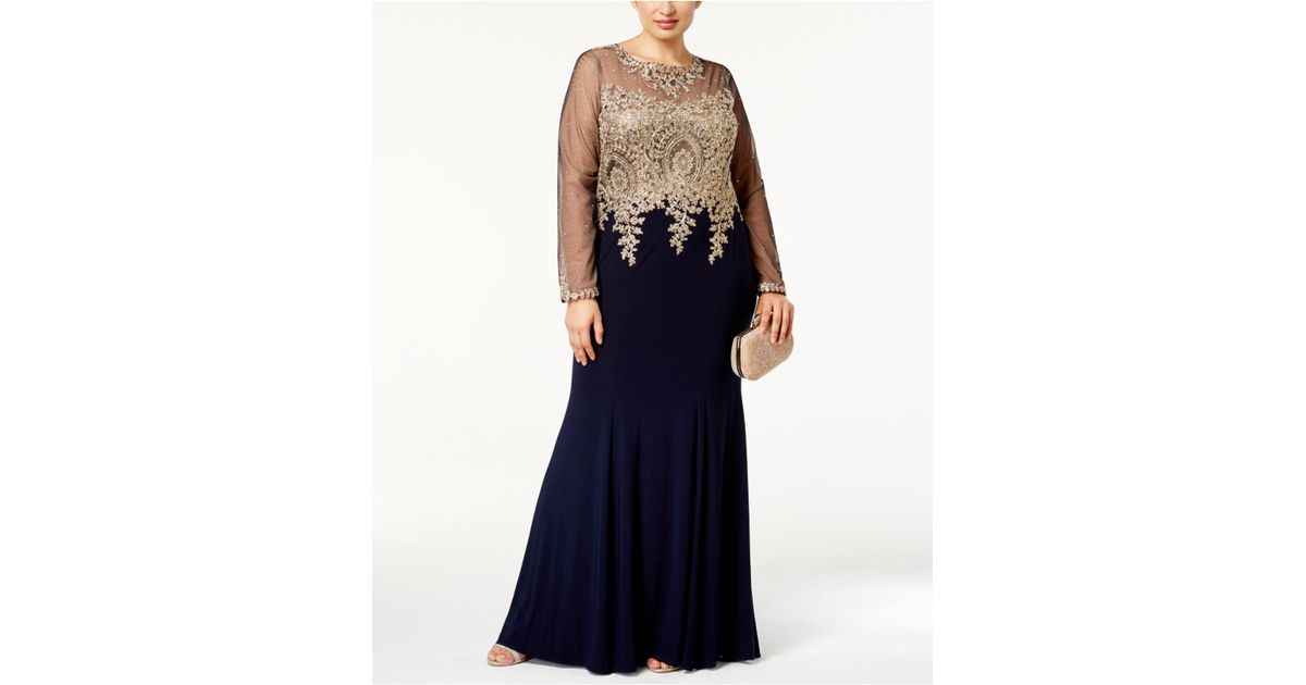 ceaaf57b4c8aa Lyst - Xscape Plus Size Embroidered Illusion Gown in Blue