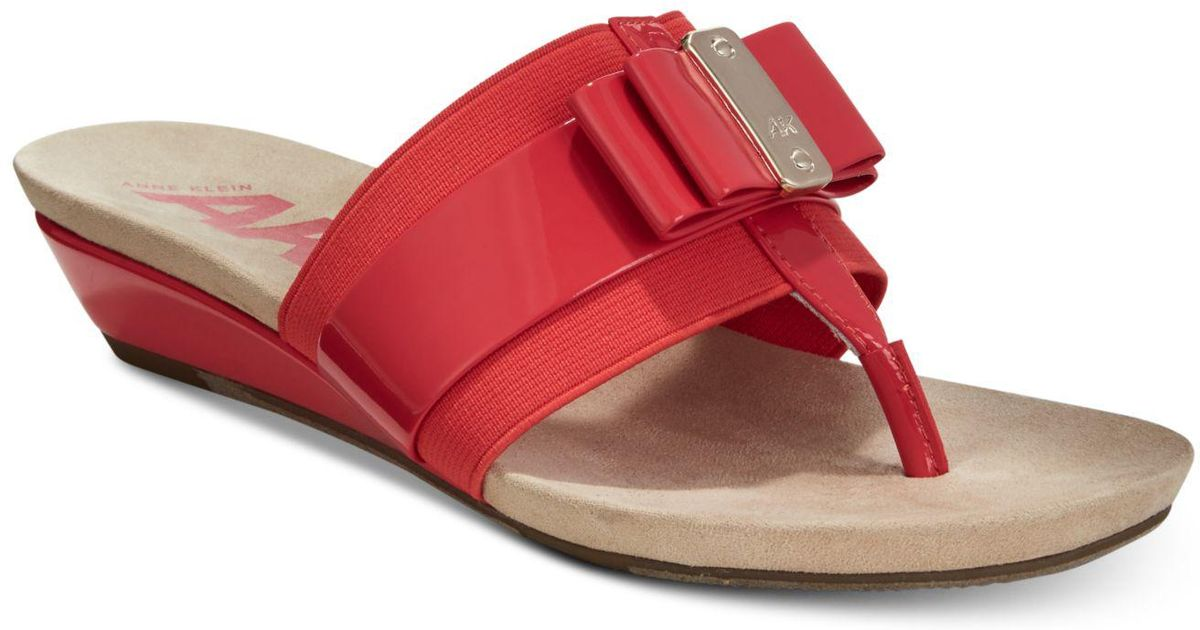 dd6b81a1c002 Lyst - Anne Klein Sport Imperial Thong Wedge Sandals