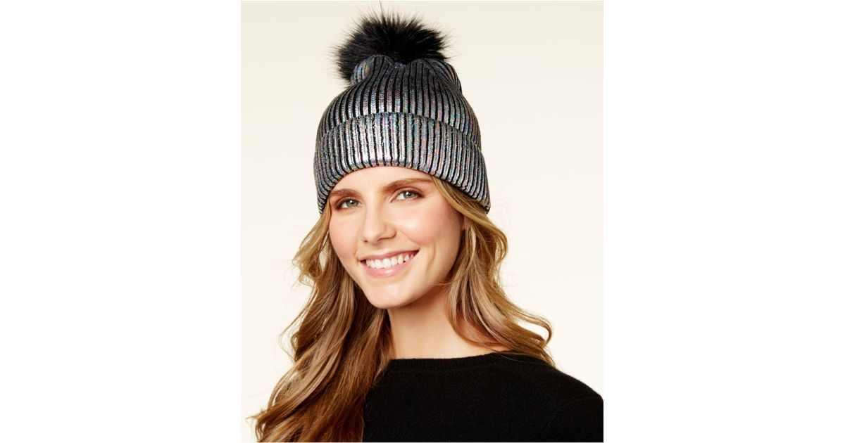 Lyst - Steve Madden Solid Metallic-knit Cuff Beanie in Brown 3a2a9ed05df