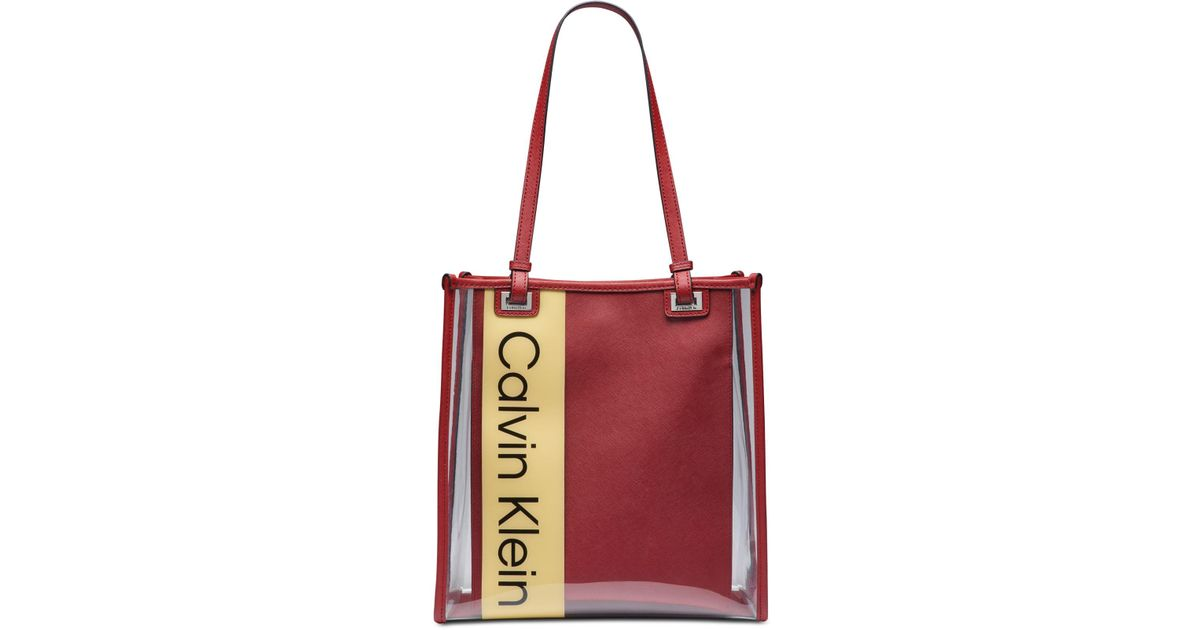 f92b20e69d Calvin Klein Franzy Logo Clear Tote in Red - Lyst
