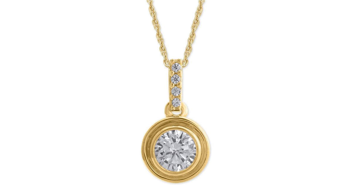 Lyst macys diamond bezel pendant necklace 14 ct tw in metallic aloadofball Choice Image
