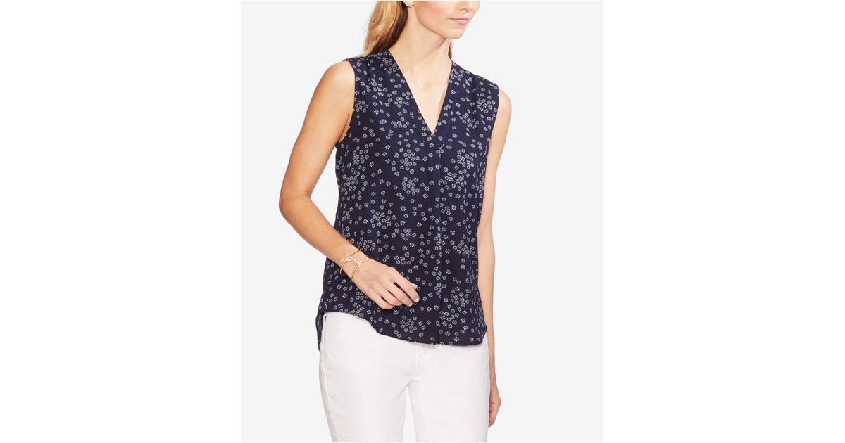 d386cf97dc43df Lyst - Vince Camuto Floral-print Sleeveless Top in Blue