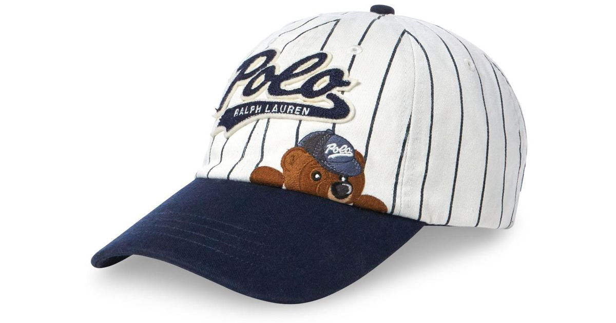 32719cd3599f8 Polo Ralph Lauren Polo Bear Pinstripe Baseball Cap in Blue for Men - Lyst
