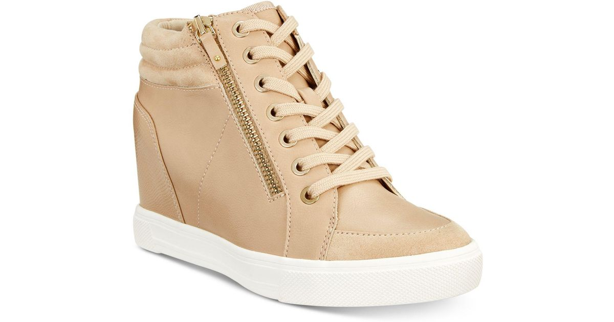 Lyst - ALDO Kaia Lace-up Wedge Sneakers in Natural
