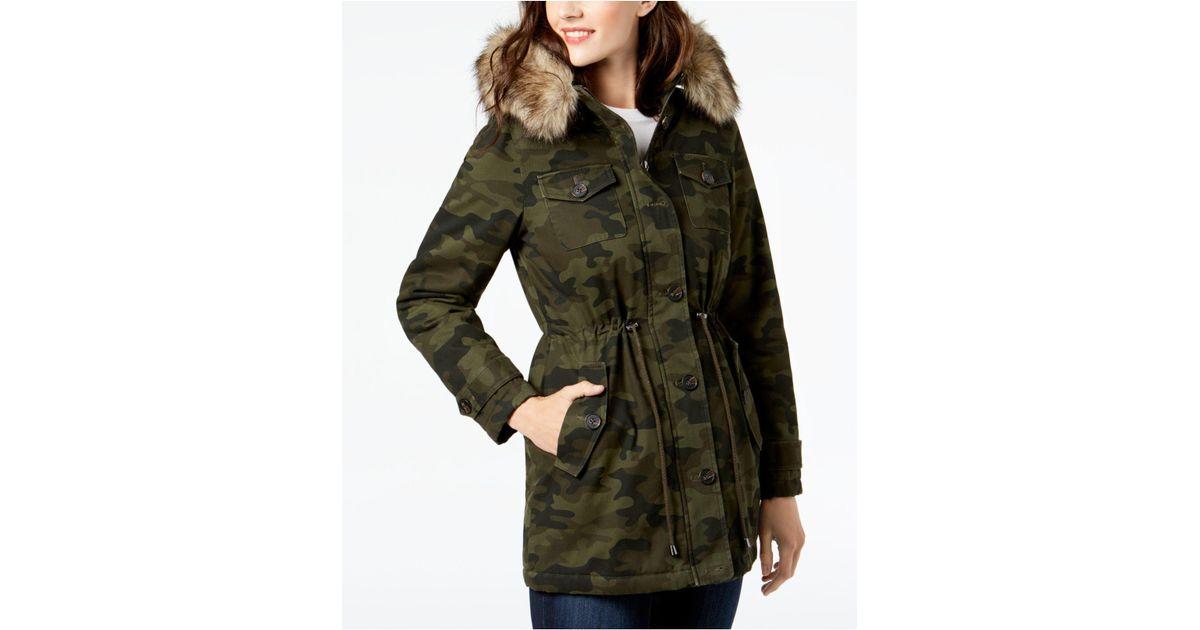 6a85e380d3466 BCBGeneration Faux-fur-trim Printed Anorak Coat in Green - Lyst